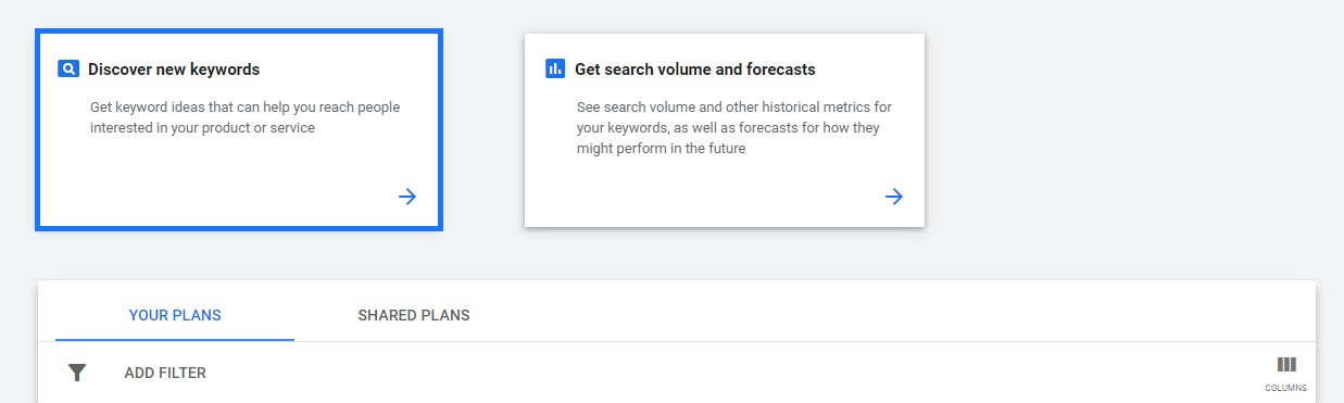 Google Ads discover new keywords