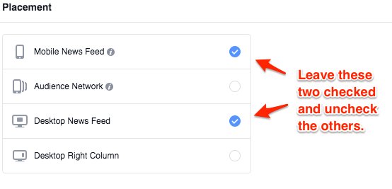 Setting up ads to run on both mobile news feed and desktop news feed in facebook