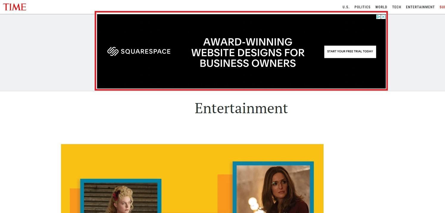 Squarespace banner ad example