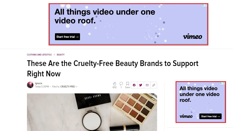 Vimeo banner ad example