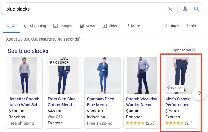 "Google search results of ""blue slacks"""