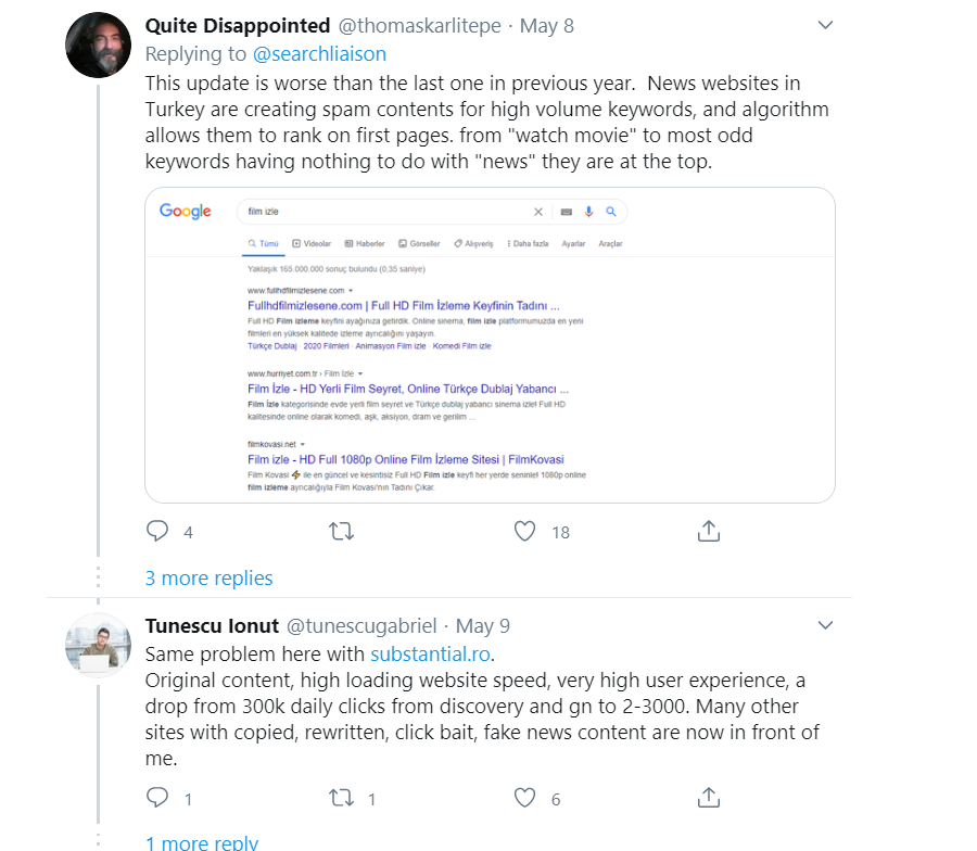 Disappointed Tweet Reply Algorithm Update News Sites