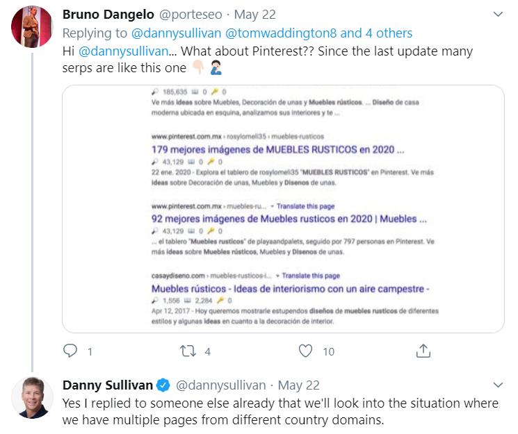 Google Algorithm Update Pinterest Issue Tweet