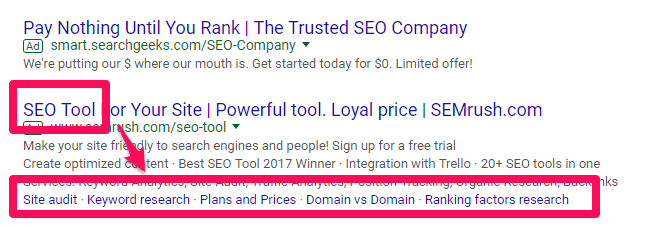 Google Ad with good ad extensions