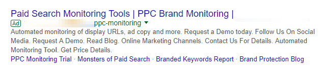 Google search ad with extensions