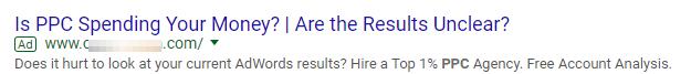 plain Google search ad