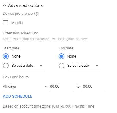 Google Ads sitelinks advanced options