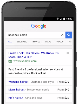 Google hair salon search ad with price extensions