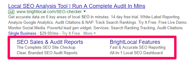 Google Ads sitelinks with descriptions
