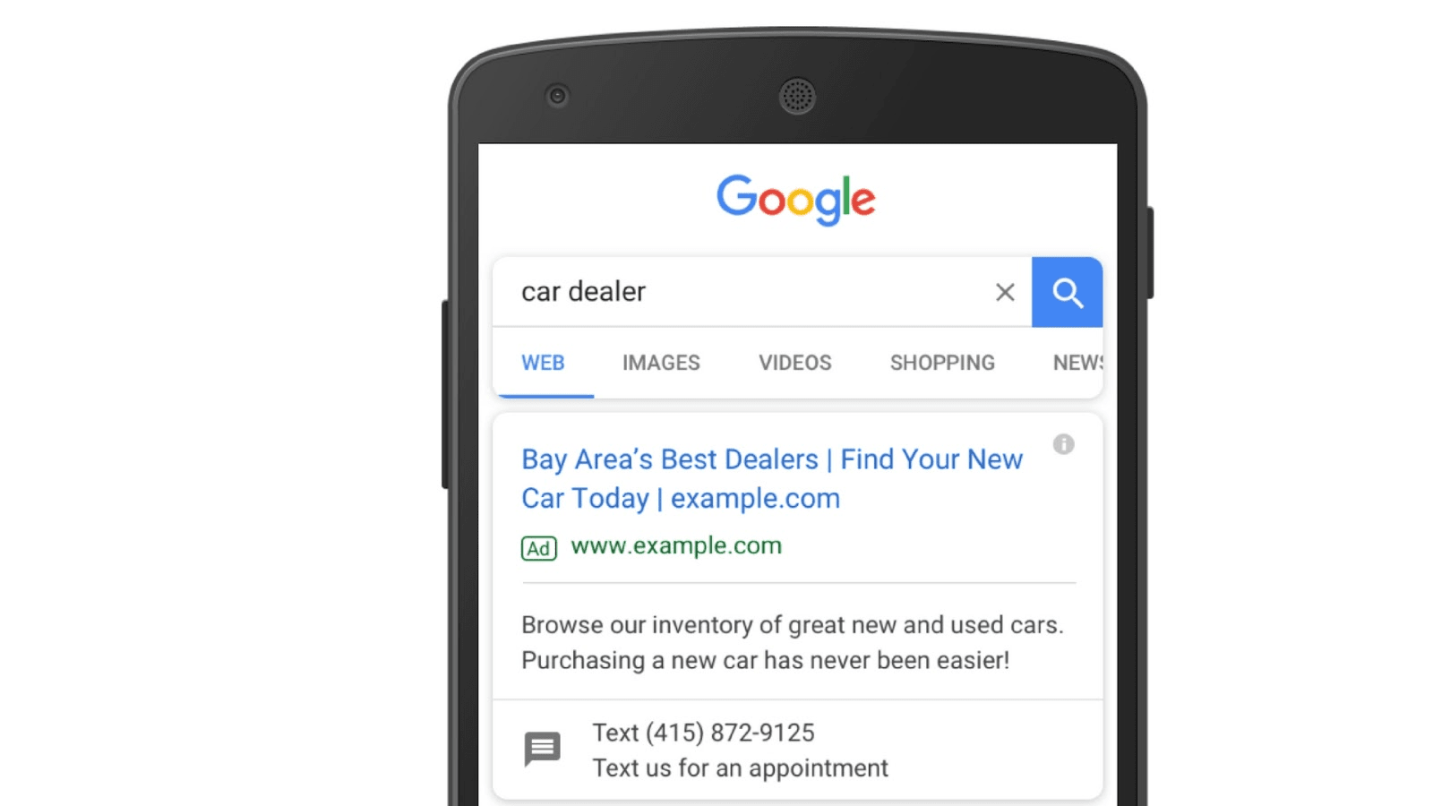 Google search ad with text message extension