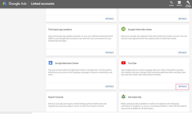 Google Ads menu - linked accounts
