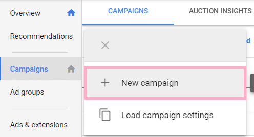 Google Ads new campaign
