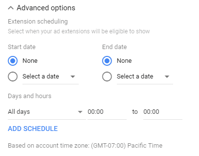 Google Ads call extension schedule