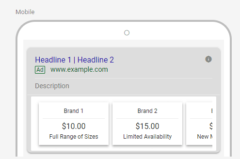 Google Ads price extension mobile example