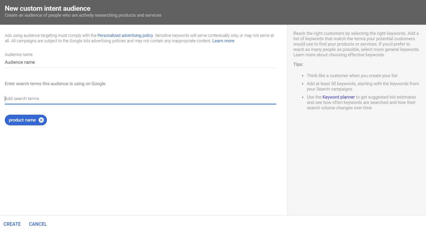 YouTube targeting custom intent audience