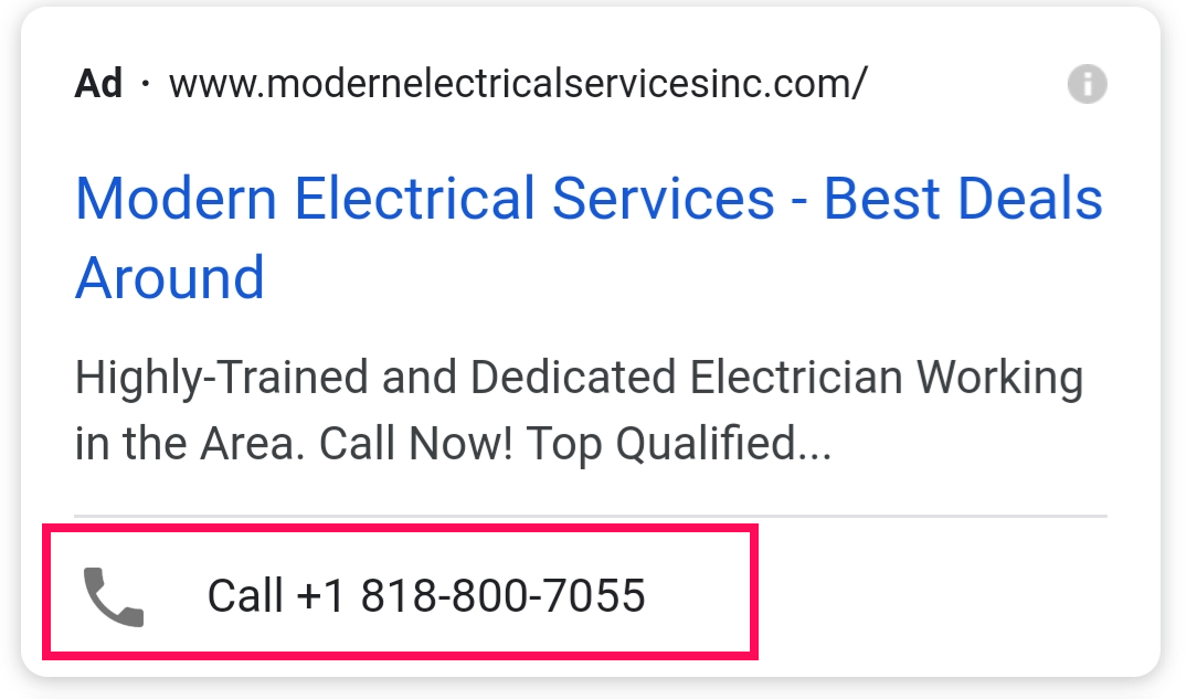 Call Extension on Mobile