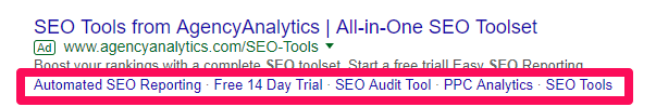 Google search ad with sitelink extension