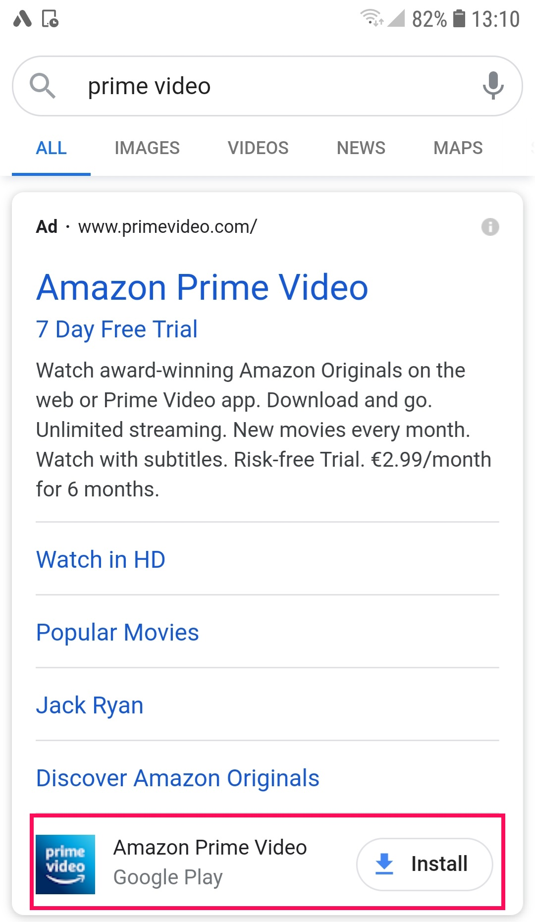 Google Ads app extension in Prime Video ad
