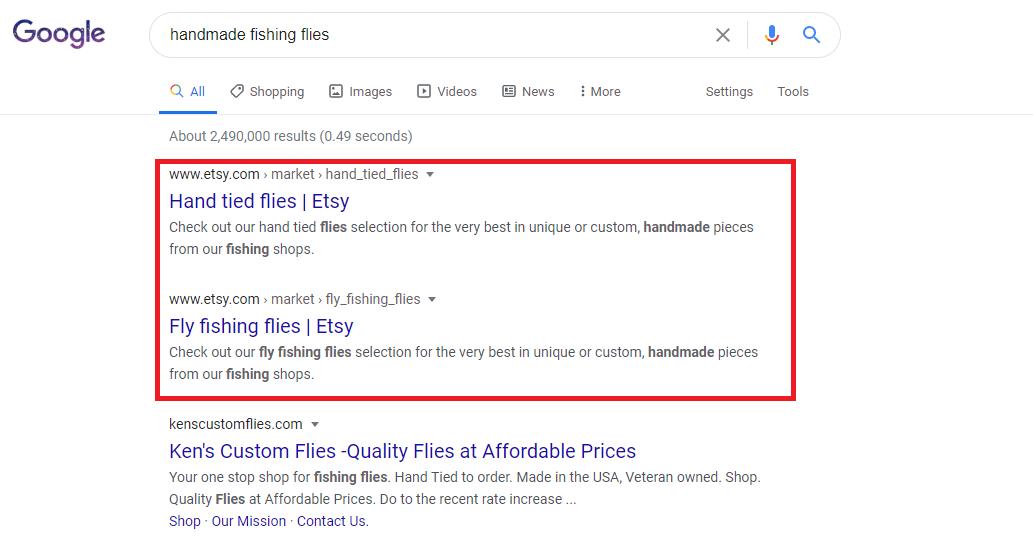 Google SERPs Handmade Fishing Flies