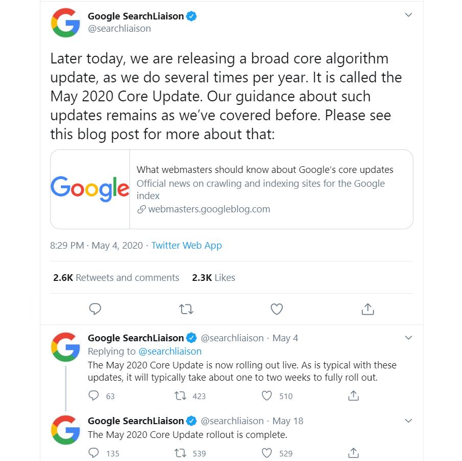 Google Core May Update Official Tweet