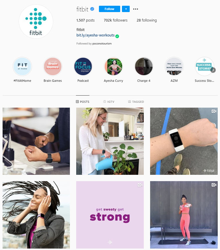 Fitbit's Instagram page
