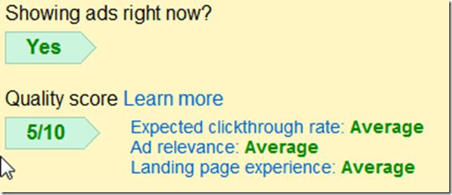 Google ads quality score example