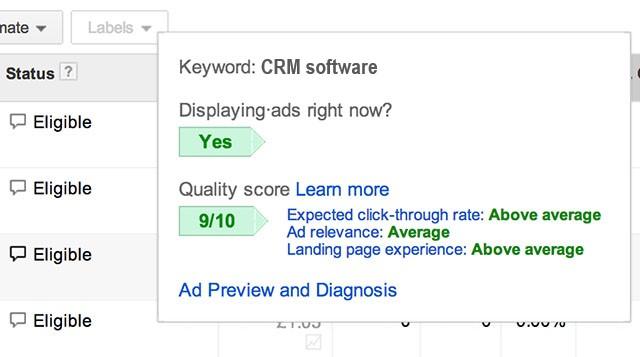 Google ads quality score breakdown