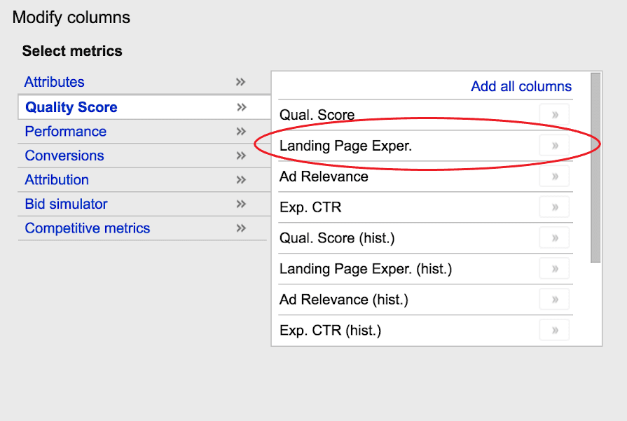 Google ads quality score landing page experience