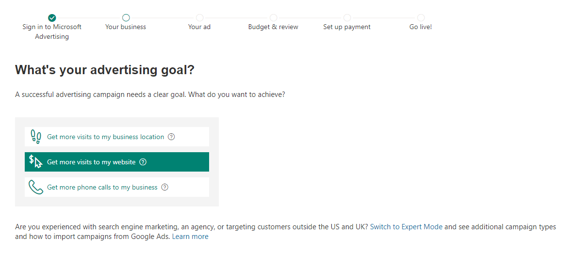 Microsoft Advertising new smart campaign goal tutorial