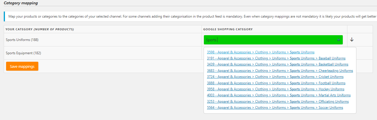 Product feed pro category mapping