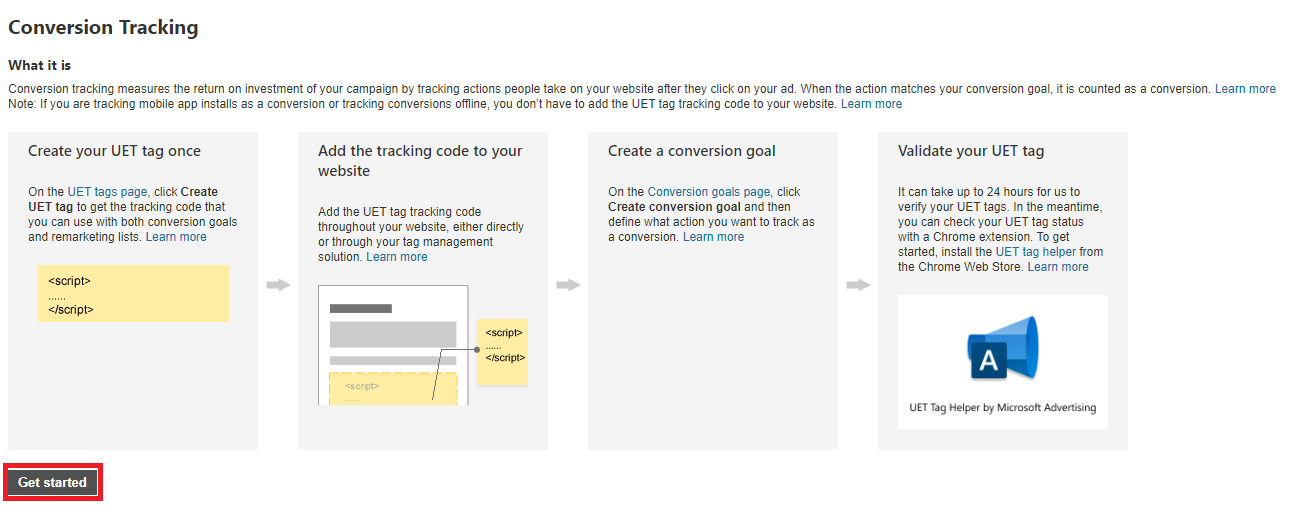 Microsoft Advertising conversion tracking view