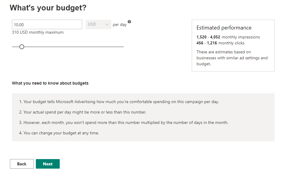 Microsoft Advertising smart campaign budget
