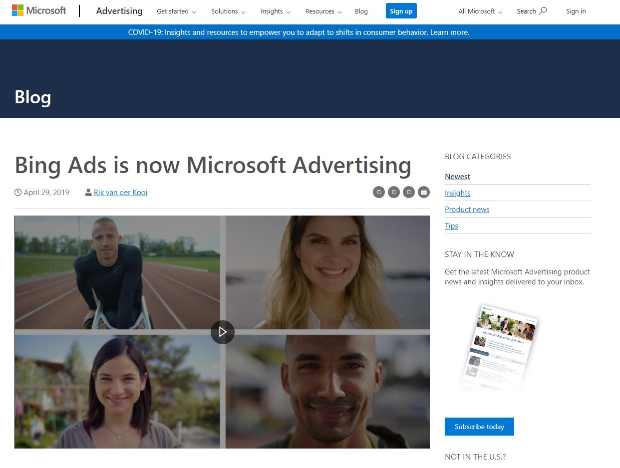 Bing Ads rebranded to Microsoft Advertising blog post