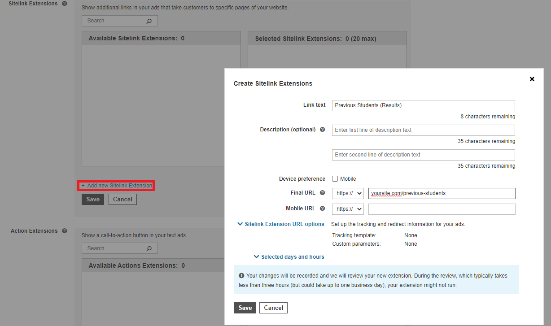 Bing Ads create sitelink extension