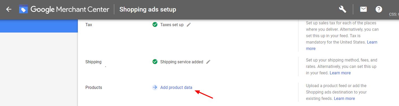 GMC add product data