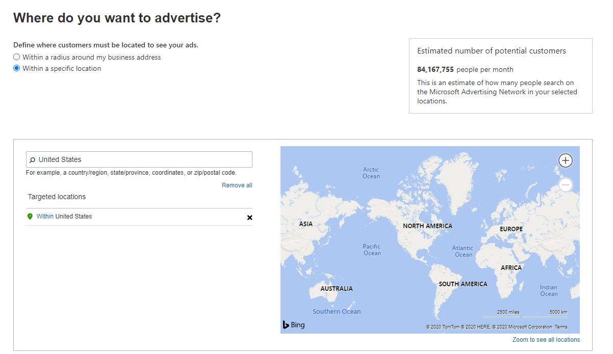 Microsoft Advertising campaign location