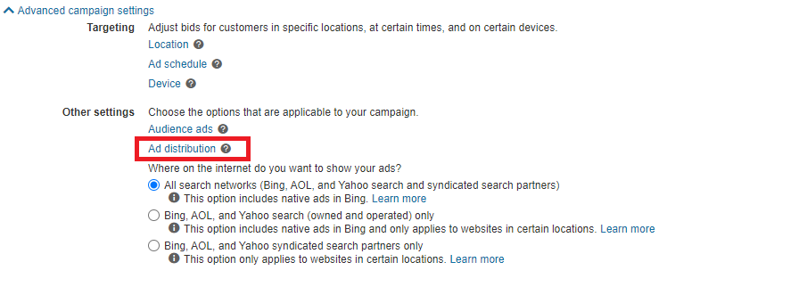 Bind Ads advanced campaign settings ad distribution
