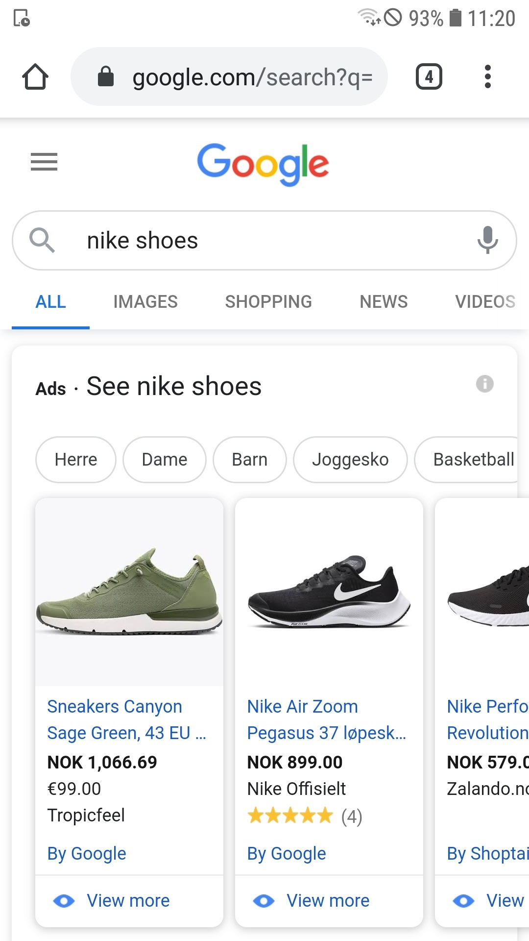Shopping ads example mobile