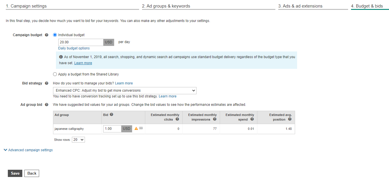 Bing Ads budget and bid settings