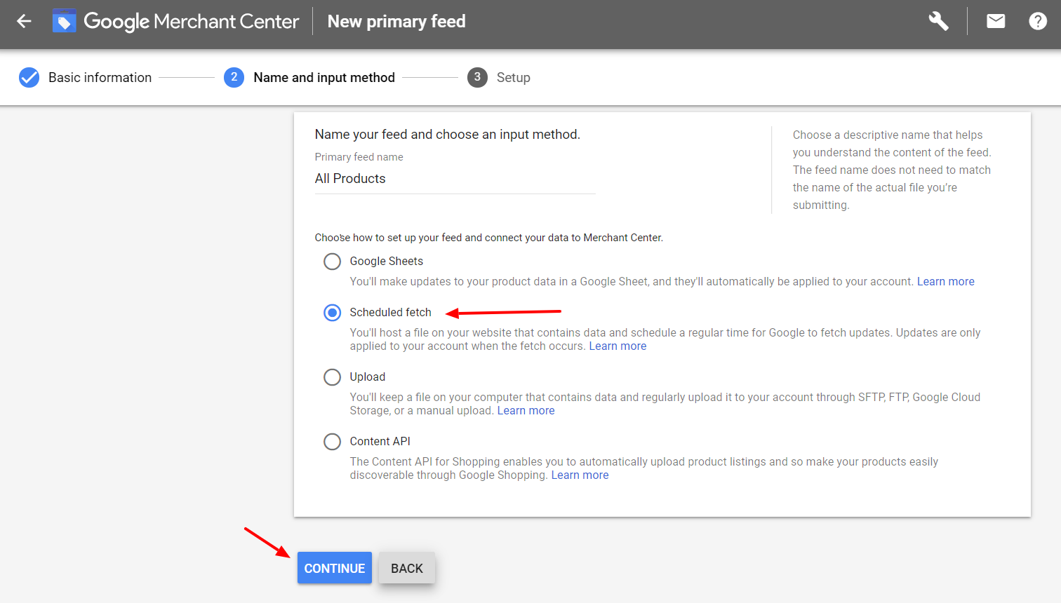 GMC primary feed input method