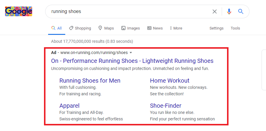Running shoes Google Paid search ad example