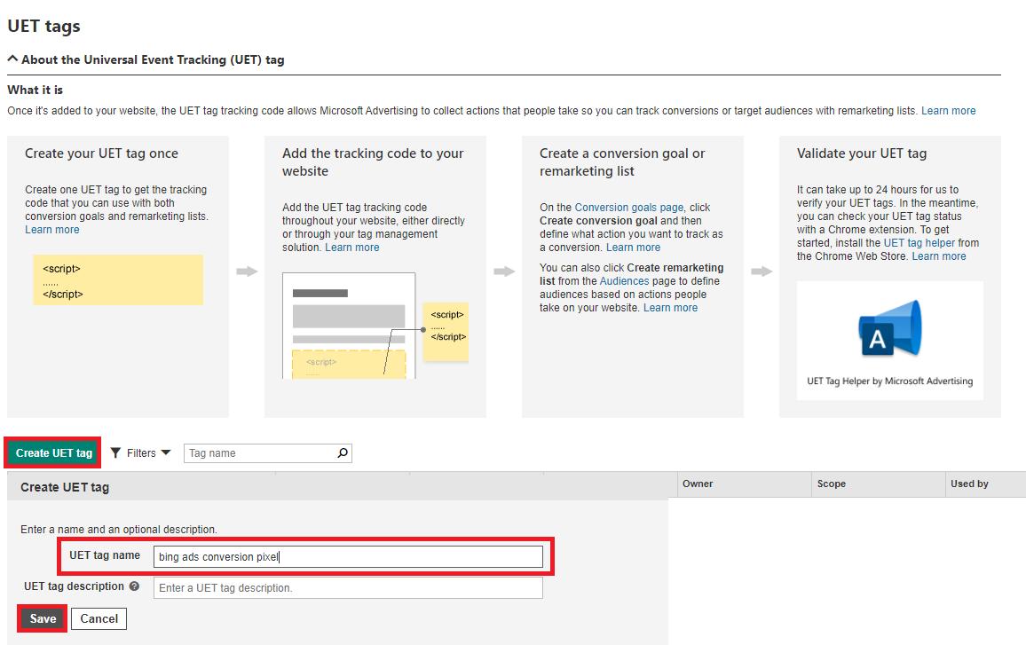 Microsoft Advertising create UET tag