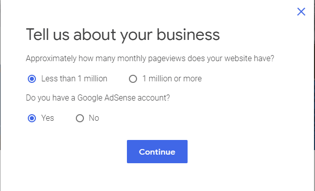 Sign-up questions for Google Ad Manager