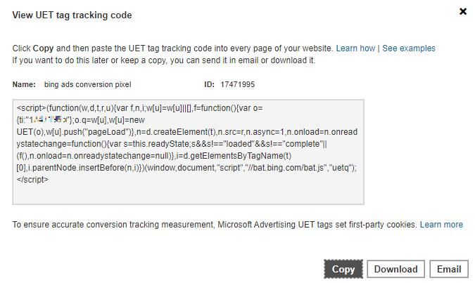 Microsoft Advertising copy UET tag