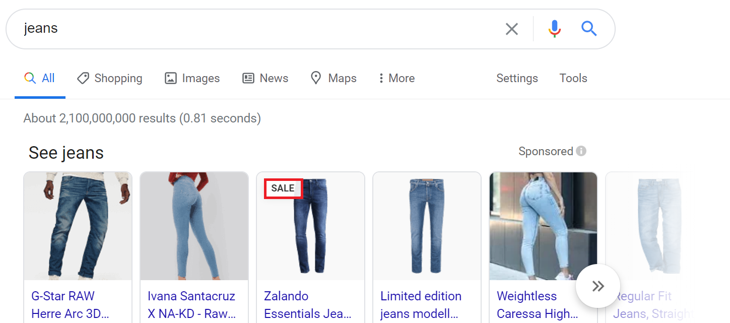 Shopping ads on sale example