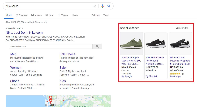 Google Shopping Ad Example Desktop