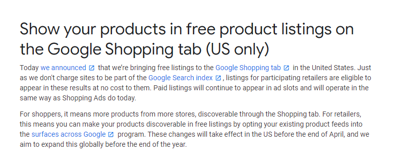 Free Google Shopping product listings