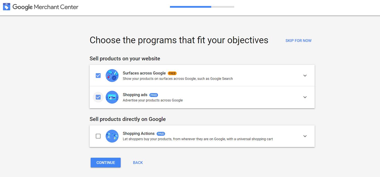 Google Merchant Center programs