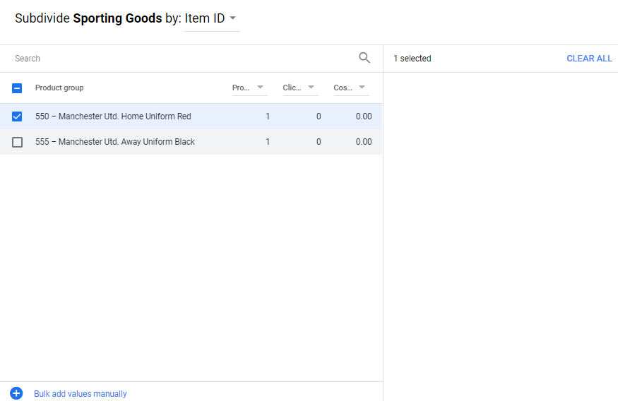 Google Shopping ads sudivide by product ID
