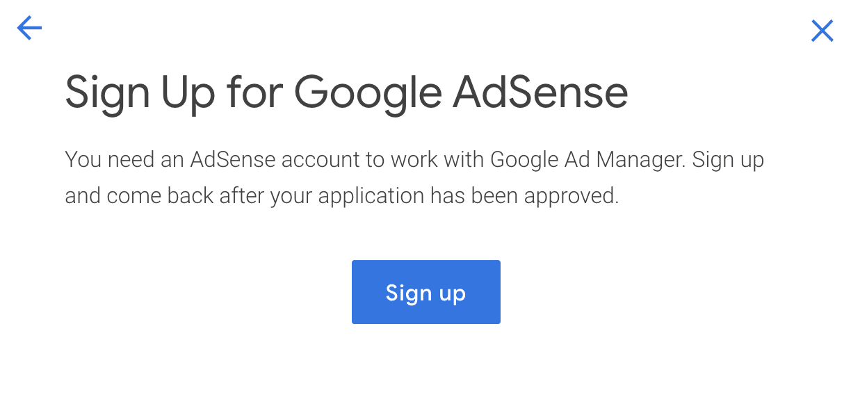 Sign up screen for Google Ad Manager